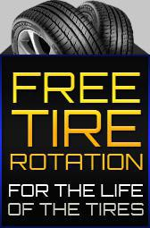 Get free tire rotations for the life of the tires!
