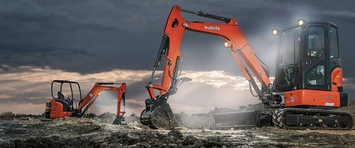 Kubota Excavators removing sand and rocks
