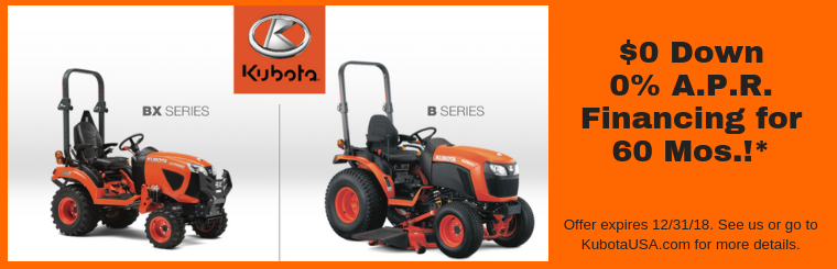 Kubota B & BX 0 for 60 Finance Offer