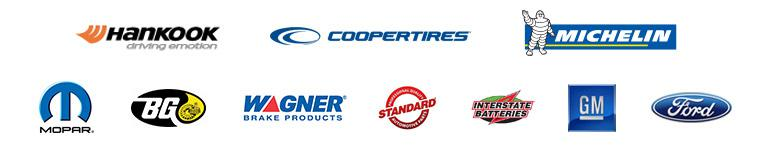 We carry products from Hankook, Cooper, and Michelin®. We use products from Mopar, BG Products, Wagner Brake Products, Standard Automotive Parts, Interstate Batteries, GM, and Ford.