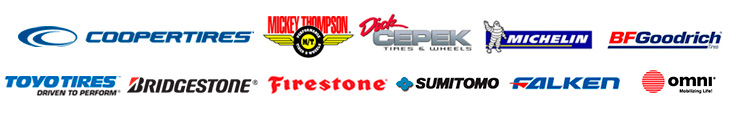 We carry products from Cooper, Mickey Thompson, Dick Cepek, Michelin®, BFGoodrich®, Toyo, Bridgestone, Firestone, Sumitomo, Falken, and Omni.