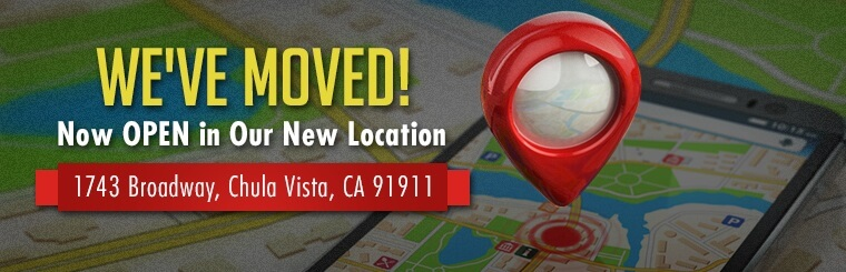 We are now open in our new location at 1743 Broadway in Chula Vista, CA 91911.