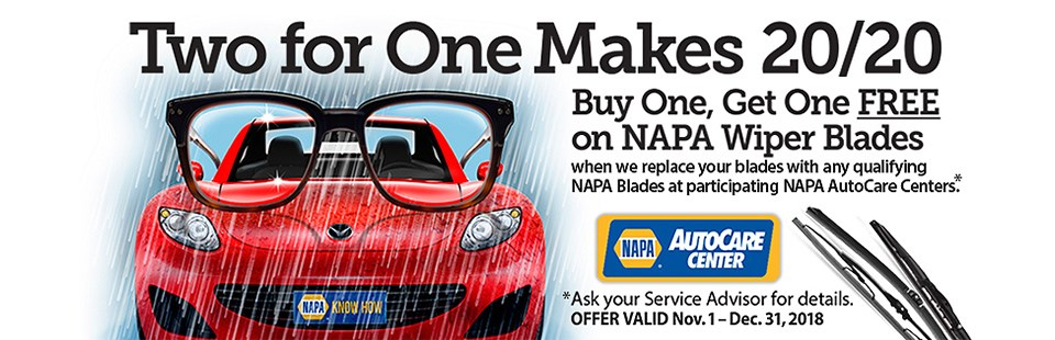 NAPA Wiper Blade Promo: Contact us for details.