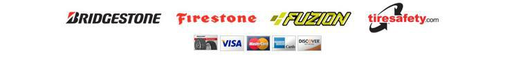 We carry products from Bridgestone, Firestone, and Fuzion. We are affiliated with TireSafety.com. We accept Visa, MasterCard, American Express, and Discover.