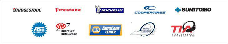 We carry products by Bridgestone, Firestone, Michelin®, Cooper, and Sumitomo. Our technicians are ASE-certified and we are associated with the AAA, NAPA, Virginia Automotive Association, and the Tire Industry Association.