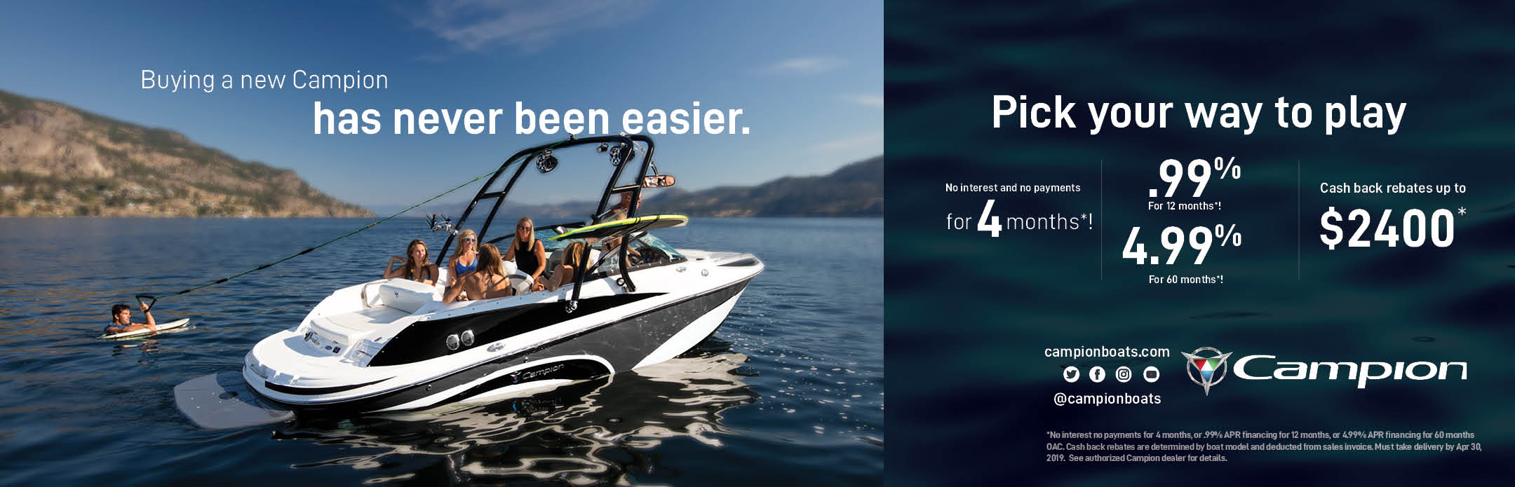 Campion Boats Pre-Season Sale March April 2019