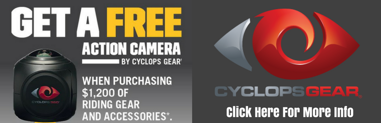 Get a FREE Cyclops 360° Action Camera when you purchase $1200 of BRP Riding Gear and Accessories