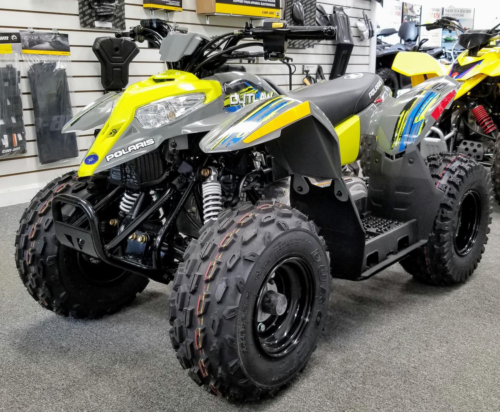 Polaris Outlaw 50 >> 2019 Polaris Industries Outlaw 50 Avalanche Gray Lime Squeeze